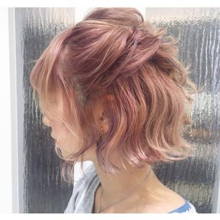 簡単ヘアアレンジ 斜め前髪 色気 ボブ ヘアスタイルや髪型の写真・画像