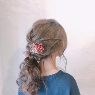 ナチュラル ロング ローポニーテール 結婚式ヘアアレンジ ヘアスタイルや髪型の写真・画像