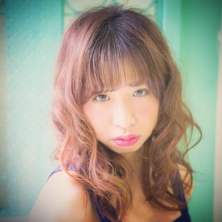 ストリート かわいい フェミニン セミロング ヘアスタイルや髪型の写真・画像