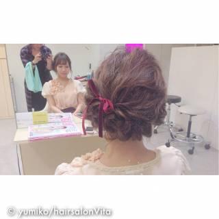 簡単ヘアアレンジ 結婚式 ナチュラル 大人かわいい ヘアスタイルや髪型の写真・画像
