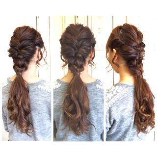 ヘアアレンジ ロング くるりんぱ 編み込み ヘアスタイルや髪型の写真・画像