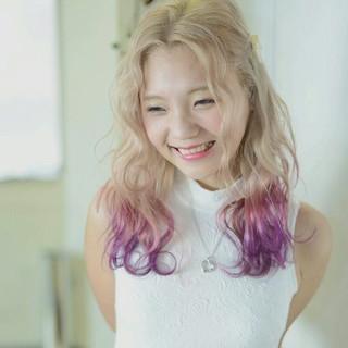 ハイトーン カラーバター ピンク グラデーションカラー ヘアスタイルや髪型の写真・画像