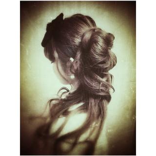 くるりんぱ ヘアアレンジ ハーフアップ 結婚式ヘアアレンジ ヘアスタイルや髪型の写真・画像