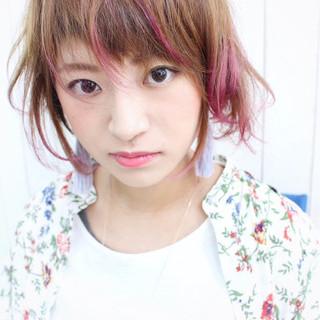 ダブルバング パープル ピンク ボブ ヘアスタイルや髪型の写真・画像