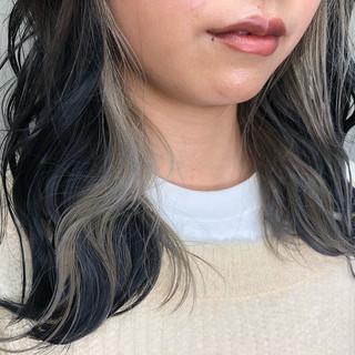 バレイヤージュ グラデーションカラー ウルフカット 外国人風 ヘアスタイルや髪型の写真・画像