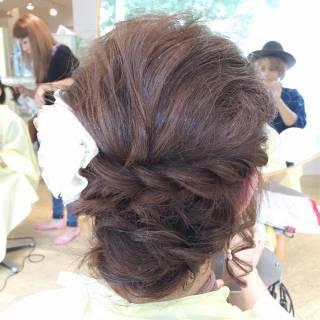 セミロング ルーズ ヘアアレンジ パーティ ヘアスタイルや髪型の写真・画像