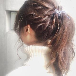 セミロング ハイライト ショート 簡単ヘアアレンジ ヘアスタイルや髪型の写真・画像