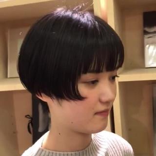 ミニボブ デート ショート 前髪パッツン ヘアスタイルや髪型の写真・画像