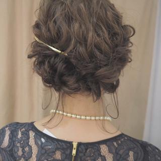 編み込み ショート ヘアアレンジ 結婚式 ヘアスタイルや髪型の写真・画像