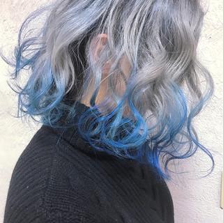ボブ 外国人風 ブルー ストリート ヘアスタイルや髪型の写真・画像