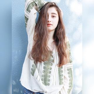 ロング デート パーマ 外国人風 ヘアスタイルや髪型の写真・画像