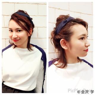 フェミニン ハーフアップ ヘアアレンジ ミディアム ヘアスタイルや髪型の写真・画像