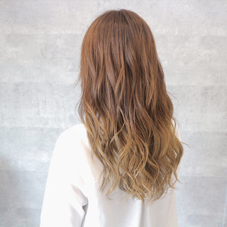 デート グラデーションカラー ガーリー ナチュラル ヘアスタイルや髪型の写真・画像