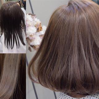 アッシュ ナチュラル ミルクティー デート ヘアスタイルや髪型の写真・画像