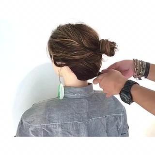 夏 フェミニン 簡単ヘアアレンジ ボブ ヘアスタイルや髪型の写真・画像