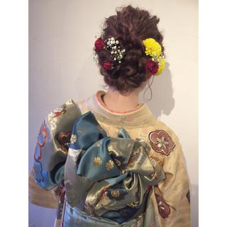 波ウェーブ 着物 ヘアアレンジ 花 ヘアスタイルや髪型の写真・画像