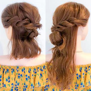 アウトドア ヘアアレンジ 簡単ヘアアレンジ ロング ヘアスタイルや髪型の写真・画像