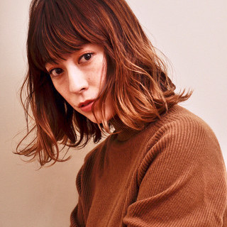 大人かわいい ミディアム ヘアカラー ナチュラル ヘアスタイルや髪型の写真・画像