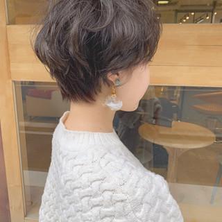 マッシュ ショート パーマ ナチュラル ヘアスタイルや髪型の写真・画像