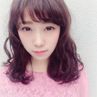 パープル ラベンダーピンク グラデーションカラー ピンク ヘアスタイルや髪型の写真・画像