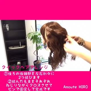 簡単ヘアアレンジ 時短 セミロング ショート ヘアスタイルや髪型の写真・画像