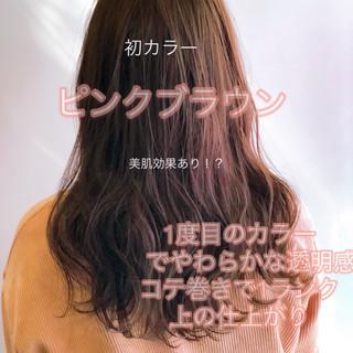 ピンクバイオレット ラズベリーピンク ミディアム ナチュラル ヘアスタイルや髪型の写真・画像