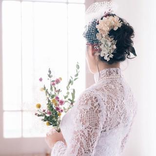 フェミニン ヘアアレンジ ブライダル セミロング ヘアスタイルや髪型の写真・画像