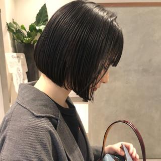 黒髪 ショートボブ モード ミニボブ ヘアスタイルや髪型の写真・画像