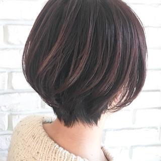 ショートボブ ナチュラル ツヤ髪 3Dハイライト ヘアスタイルや髪型の写真・画像