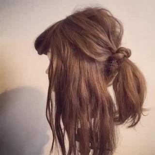 ポニーテール セミロング 簡単ヘアアレンジ ショート ヘアスタイルや髪型の写真・画像