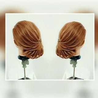 セミロング ヘアアレンジ 和装 お団子 ヘアスタイルや髪型の写真・画像