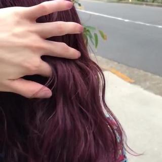 ピンク 波ウェーブ ラベンダーピンク 大人かわいい ヘアスタイルや髪型の写真・画像