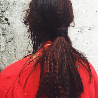 簡単ヘアアレンジ ロング 黒髪 アッシュ ヘアスタイルや髪型の写真・画像