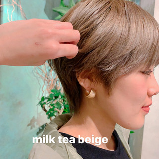 大人ハイライト ベリーショート ショート シースルーバング ヘアスタイルや髪型の写真・画像