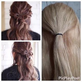 パーティ 簡単ヘアアレンジ セミロング 結婚式 ヘアスタイルや髪型の写真・画像
