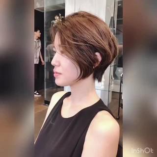 ショート 小顔ショート 大人かわいい 簡単スタイリング ヘアスタイルや髪型の写真・画像