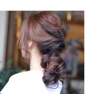 編み込み 簡単 ヘアアレンジ まとめ髪 ヘアスタイルや髪型の写真・画像