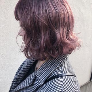 ピンク ボブ 愛され ハイトーン ヘアスタイルや髪型の写真・画像