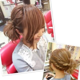 ねじり 愛され ヘアアレンジ フェミニン ヘアスタイルや髪型の写真・画像