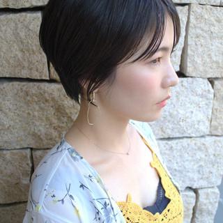 ショートヘア ショート 濡れ髪スタイル 黒髪 ヘアスタイルや髪型の写真・画像