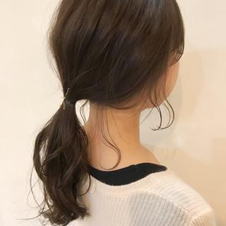 後れ毛 ヘアアレンジ 簡単ヘアアレンジ セミロング ヘアスタイルや髪型の写真・画像
