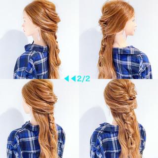 三つ編み デート ヘアアレンジ 簡単ヘアアレンジ ヘアスタイルや髪型の写真・画像