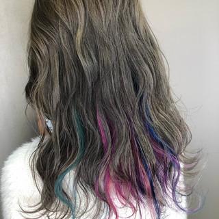 ストリート ウェーブ ゆるふわ グラデーションカラー ヘアスタイルや髪型の写真・画像