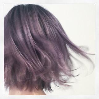 マニッシュ モード グラデーションカラー パープル ヘアスタイルや髪型の写真・画像