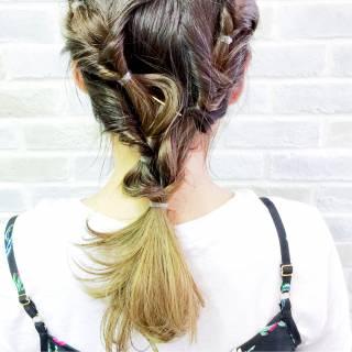 束感 無造作 ヘアアレンジ 編み込み ヘアスタイルや髪型の写真・画像