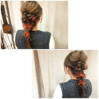 編み込み インナーカラー ヘアアレンジ ストリート ヘアスタイルや髪型の写真・画像 ヘアスタイルや髪型の写真・画像
