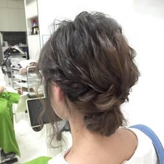 編み込み ヘアアレンジ ボブ モテ髪 ヘアスタイルや髪型の写真・画像