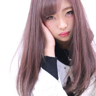 セミロング 大人かわいい 外国人風 モーブ ヘアスタイルや髪型の写真・画像