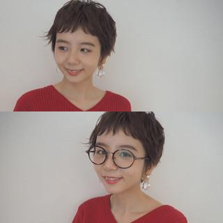 外国人風 アッシュ 前髪あり ショート ヘアスタイルや髪型の写真・画像