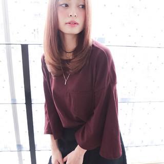 セミロング モテ髪 ワンカール ベリーピンク ヘアスタイルや髪型の写真・画像
